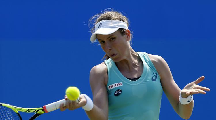 Johanna Konta, pictured, defeated Naomi Osaka in the opening round in Stuttgart
