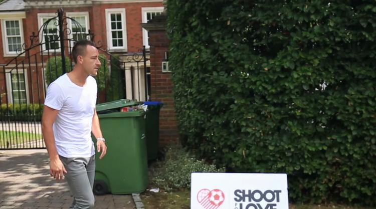 Chelsea's John Terry tries his luck at the Shoot For Love football challenge - video